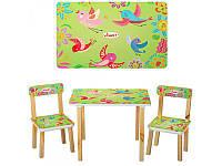 """Столик деревянный, стульчики, комплект детской мебели """"Салатовые птички"""", ТМ Vivast, 501-6"""