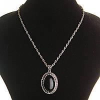 [20х30мм] Кулон на витой цепочке Агат крупный темно серый металл оправа греческий узор овальная