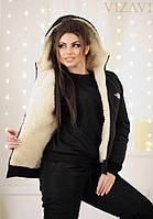 Женский зимний спортивный костюм черного цвета. Ткань: плотная плащевка. Размер: 42-44, 44-46.