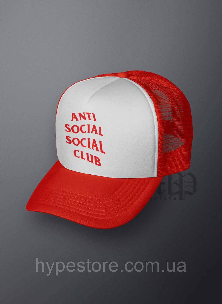 Кепка, бейсболка Anti Social Social Club (красно-белый), Реплика