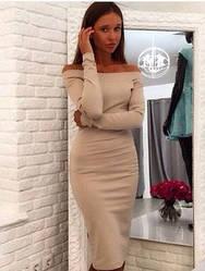 Женское платье бежевого цвета с приспущенными плечами Размеры S. M AA 399