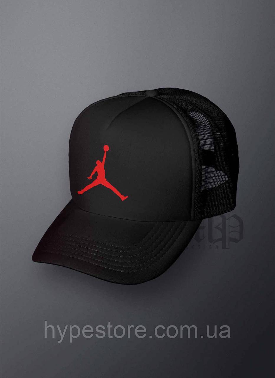 Кепка, бейсболка Jordan (черный + красный лого), Реплика