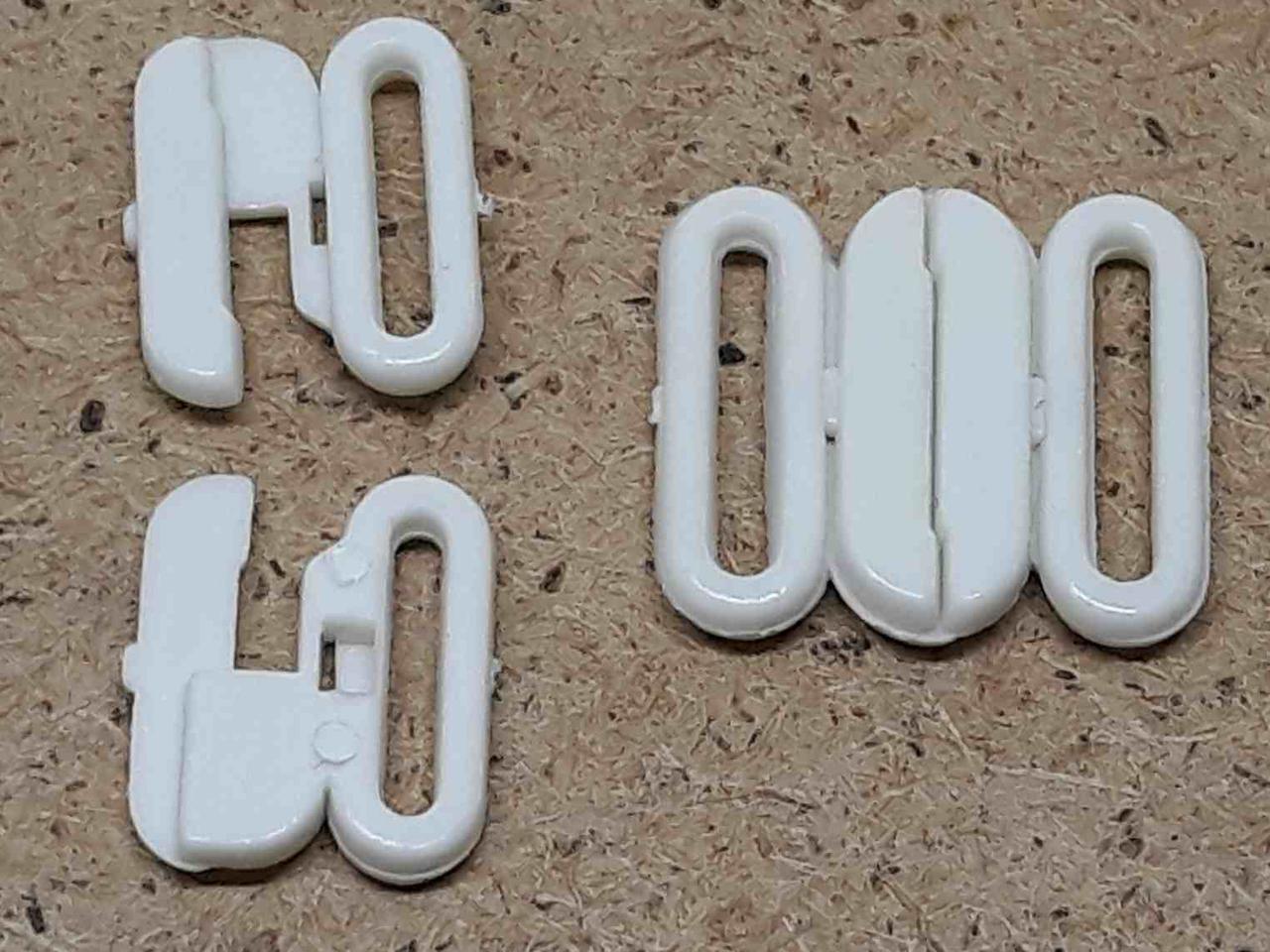Застежка для бюстгальтера 17 мм белый