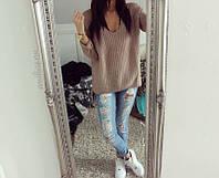 Стильный свободный женский свитер кофейного цвета. Размер универсальный 42-48.