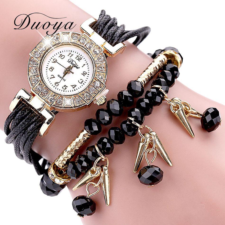 Женские часы браслет с черным ремешком