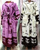 Женский махровый халат под пояс 52-60 р. Шанель, женские халаты оптом от производителя