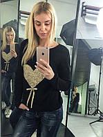 Женский стильный свитер украшенный пайетками тонкой вязки. Ткань: шерсть с акрилом. Размер: 42-46.