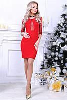 Откровенное платье Angela с кокетливими прозрачними вставками и изисканими рукавами тричетверти (длина 85 см) (4 цвета) (134)280