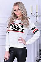 Модная кофта Valeriya Турецкого производства с фешенабельним рисунком флок (134)ТS1990