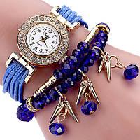 Женские часы браслет с синим ремешком