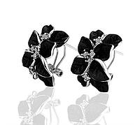 """Серьги """"Черные орхидеи в серебре"""", фото 1"""