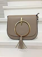 Стильная кожаная сумка с кольцом