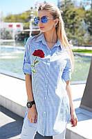 Ультрамодная рубашка-туника в полоску Kristel с удобним регулируванным рукавом и красивими вишитими розами (134)9050