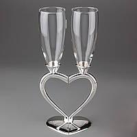 """Свадебные бокалы """"Половинки сердца"""" на металлической ножке с камушками, красивые бокалы  жениха и невесты"""