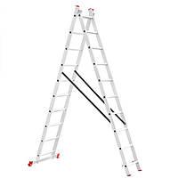 Лестница алюминиевая 2-х секционная универсальная раскладная INTERTOOL LT-0210, фото 1