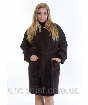 Пальто зимове жіноче № 20 (р. 46-48), шоколад, фото 2