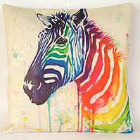 Стильная подушка для дивана с принтом зебра 45х45см