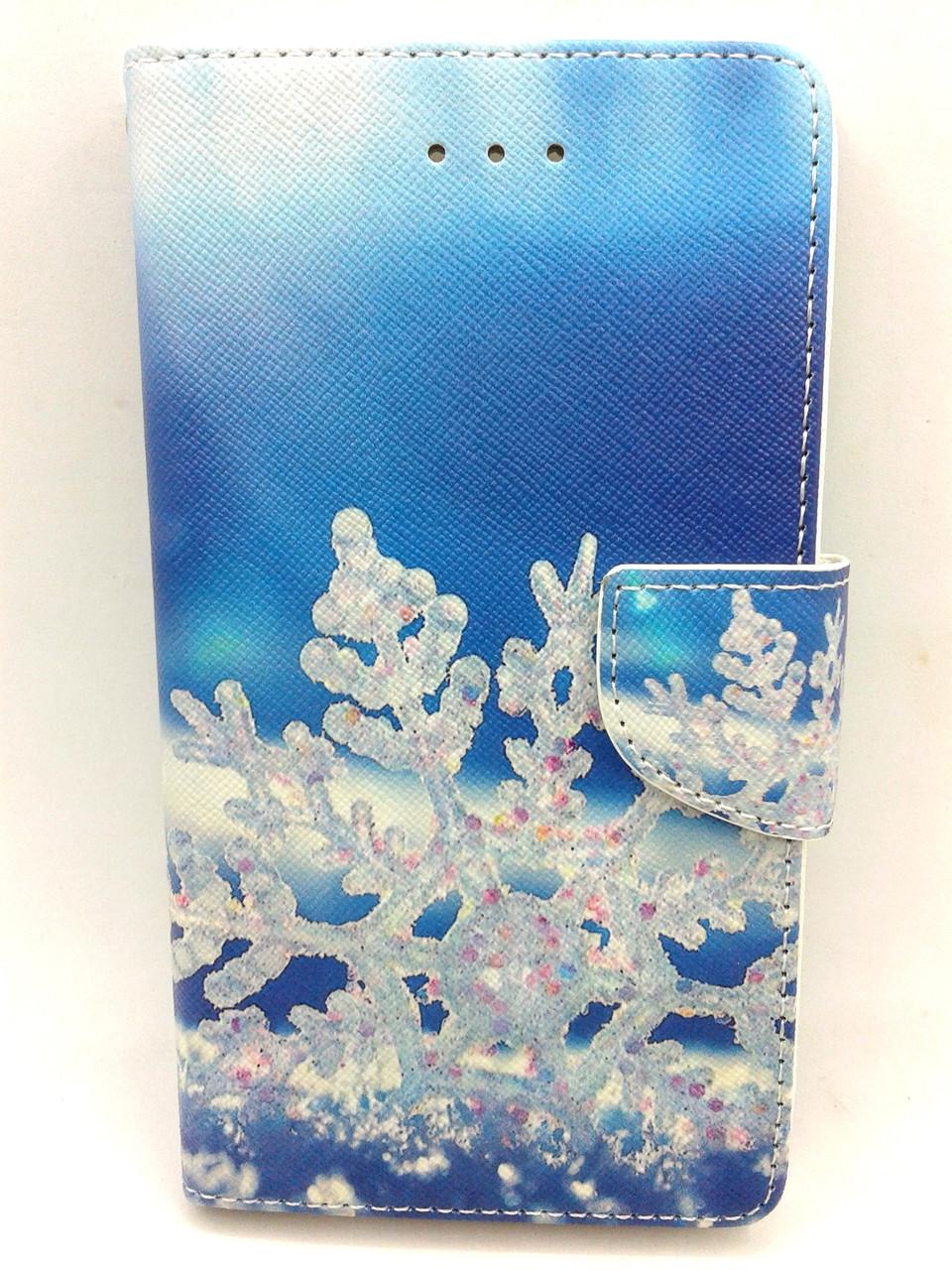"""Чехол-книжка 4you Art Print 3.5""""-4.0"""" Winter 2 (голубая снежинка) универсальная"""