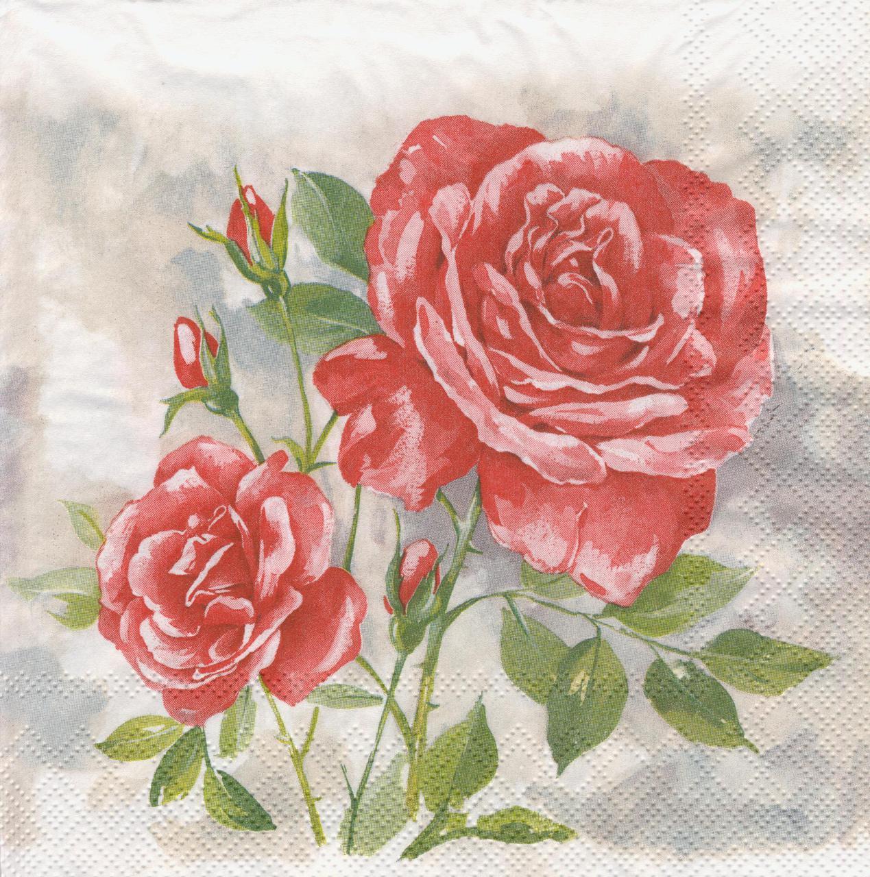 Салфетки декупажные Красные розы 7110