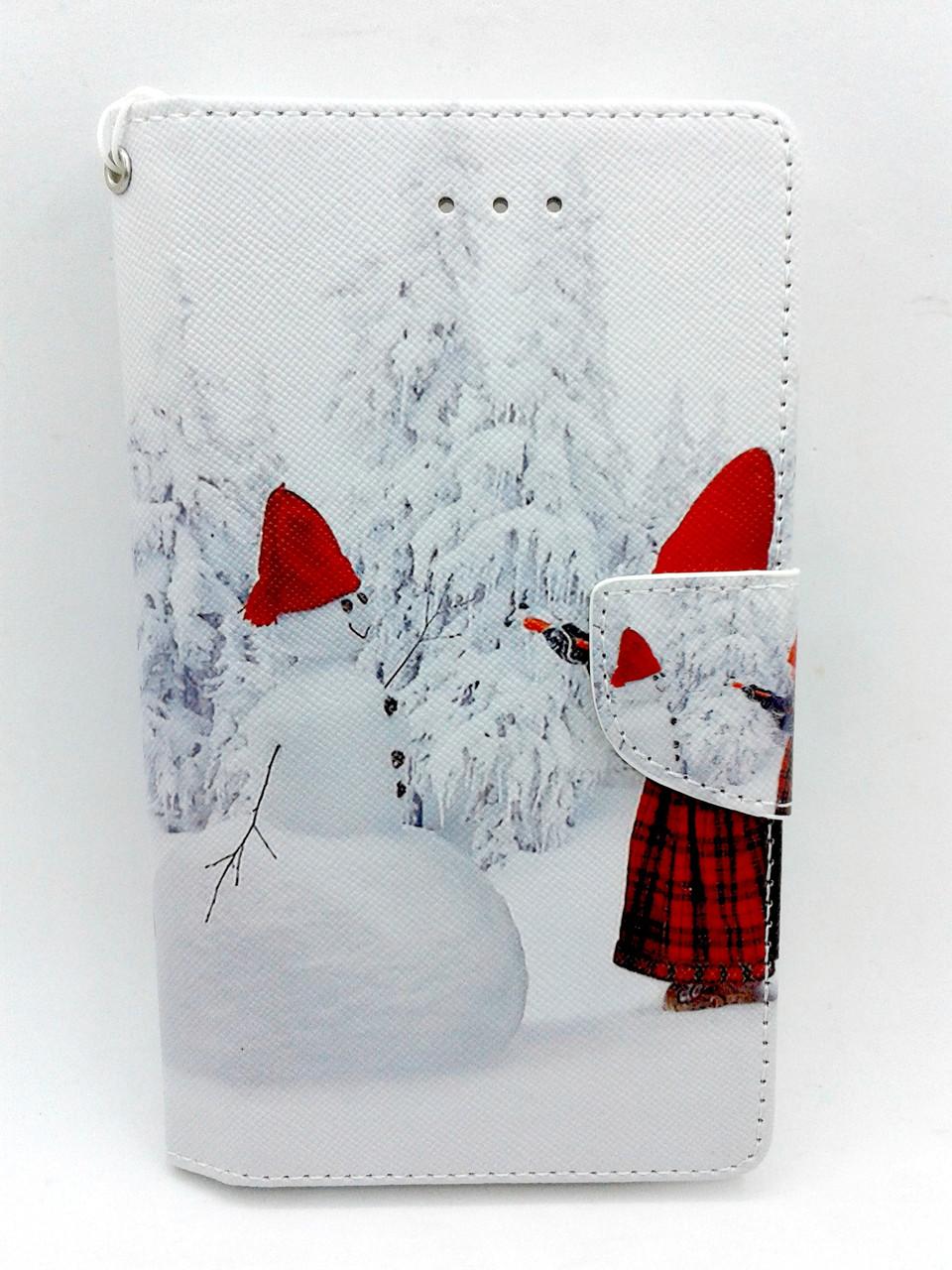 """Чехол-книжка 4you Art Print 4.0""""-4.4"""" Winter 3 (снеговик) универсальная"""