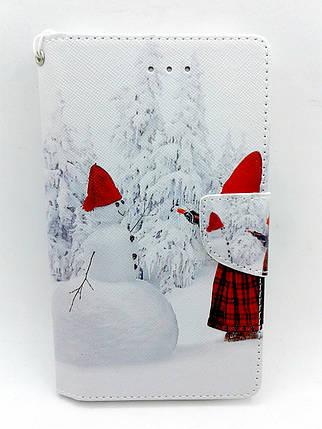 """Чехол-книжка 4you Art Print 4.0""""-4.4"""" Winter 3 (снеговик) универсальная , фото 2"""
