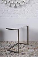 Приставной столик York (Йорк) белый на П-образной ноге, столешница МДФ белый