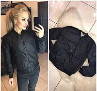 Новинка! Весенняя легкая стильная куртка бомбер на рукаве карман на молнии черная 42 44 46