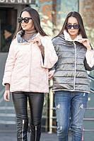 Куртка женская демисезонная двустороняя Шерами, короткая меховая куртка осень, весна, дропшиппинг