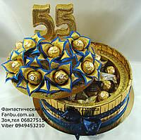 "Конфетный торт ""Юбилейная шкатулка удачи-55""золото с синим"