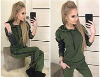 Новинка 2018 женский стильный костюм джерси вставки эко кожа хаки 42 44 46 , фото 1