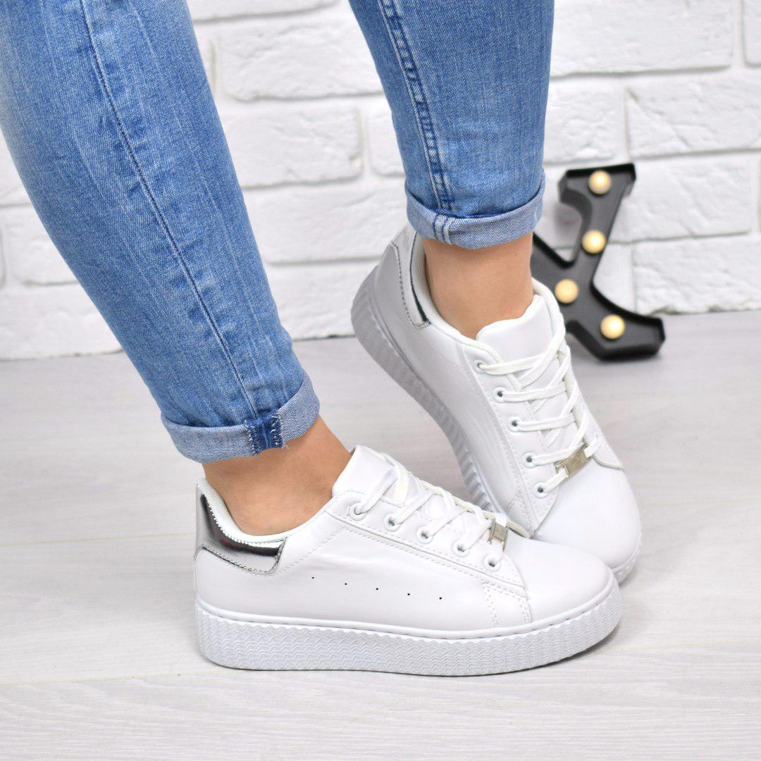 b5c9d302c9f9b Купить Кроссовок криперы Kreeper белое с серебром, обувь женскую по ...
