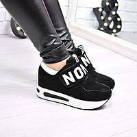 Кроссовки женские Love на липучке черные, обувь женская