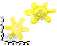 Крыльчатка вентилятора радиатора Москвич 6-ти лоп. (желтая). 412-1308010-6Ж
