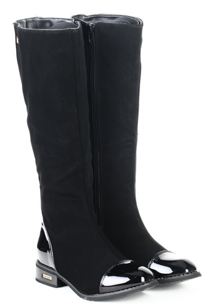 c52b5c41 Женские сапоги из замша с лаковым носком и пяткой, цена 805,80 грн ...