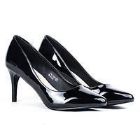 Женские элегантные чёрные лодочки из лаковой кожи на каблуке, фото 1