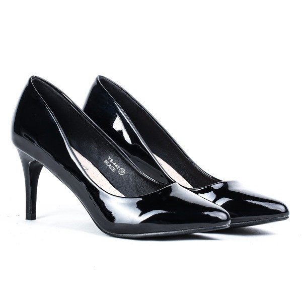 Женские элегантные чёрные лодочки из лаковой кожи на каблуке