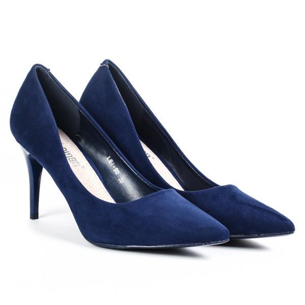 Женские туфли лодочки на каблуке синего цвета, туфли женские классические, стильные