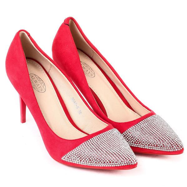 Качественные туфли -лодочки на шпильке и со стразами на носке