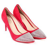 Качественные туфли -лодочки на шпильке и со стразами на носке, фото 1