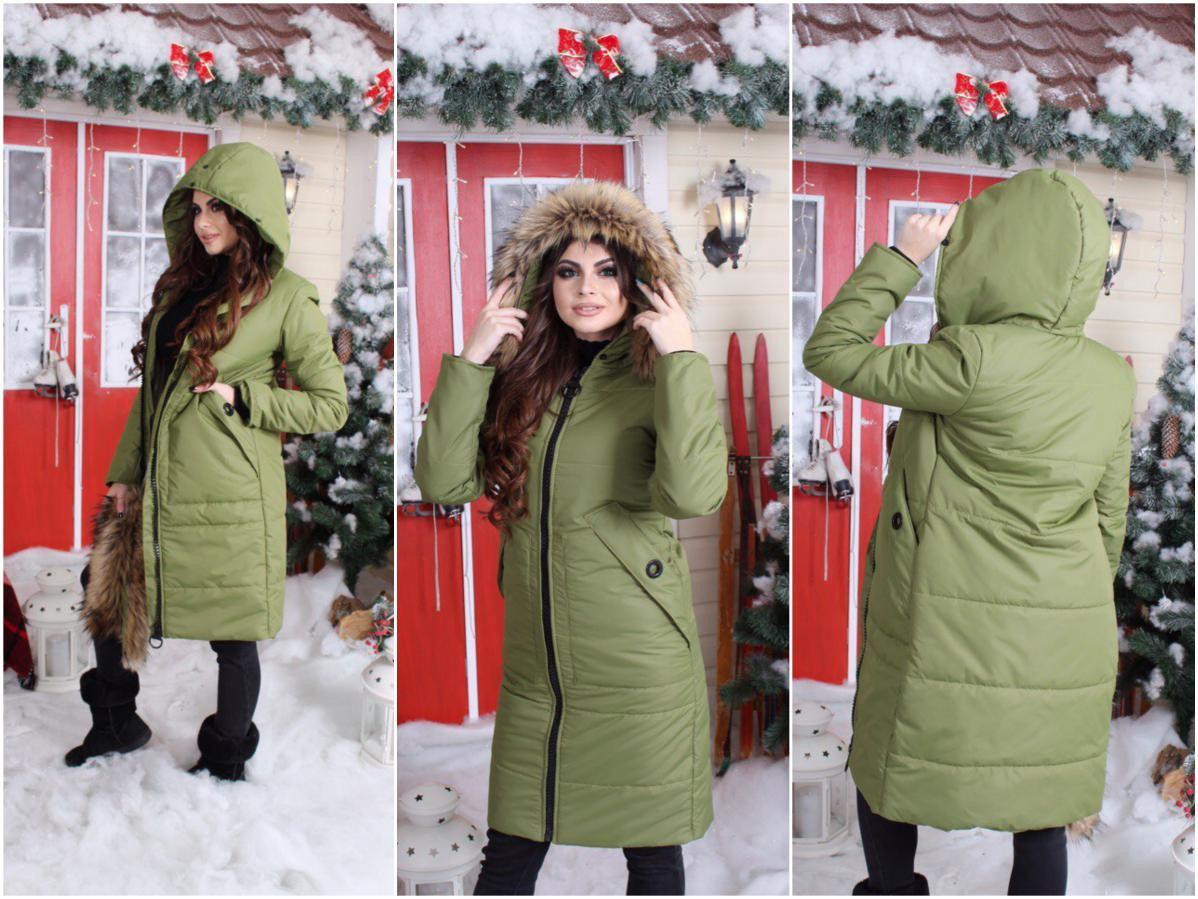 Зимнее пальто куртка на крупной молнии с капюшоном утепленное мехом и синтепоном