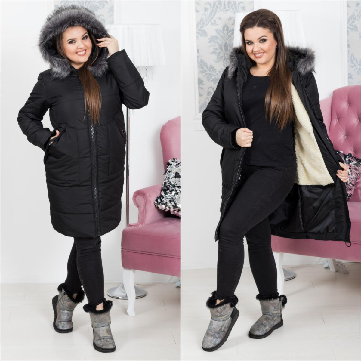 Зимнее пальто куртка на крупной молнии с капюшоном утепленное мехом и синтепоном, батал большие размеры