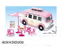 Машина розовая Кафе 2 вида, с мебелью, аксессуарами, 2015-4/-3 автобус
