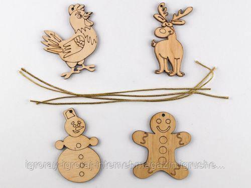 Набор деревянных новогодних игрушек (4 фигурки) 92247