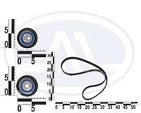Ролик ГРМ ВАЗ 2110, 2111, 2112, 16-ти клапанный. (830900АЕ1 + 830700АЕ) с ремнем, комплект. 21120-10061 (SKL)