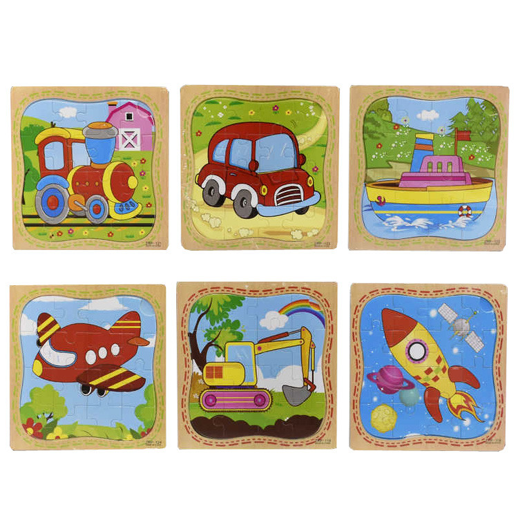 Деревянные пазлы Транспорт 16 элементов