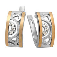 Серебряные серьги Анталия с фианитами и золотыми накладками 000008249