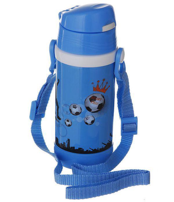 Детский термос А-плюс  Fl-1776 с трубочкой голубой, 320 мл
