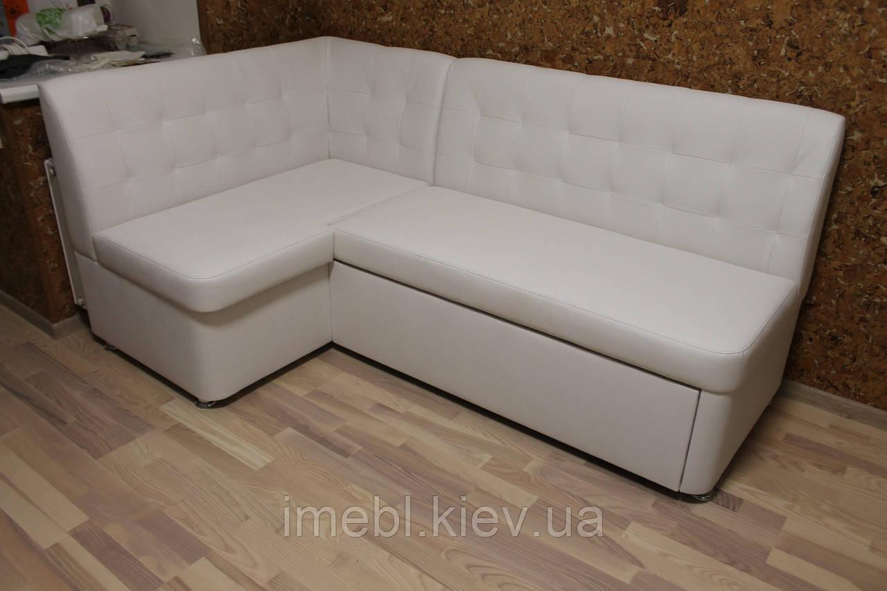 Білий кухонний кутовий диван зі спальним місцем