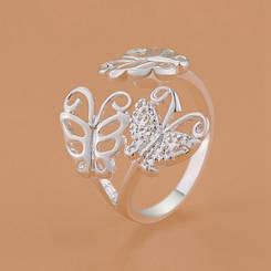 """Колечко """"Бабочки"""", размер 16,5, стерлинговое серебро, 925 проба"""