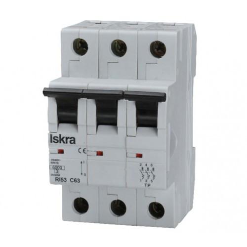 Модульный автоматический выключатель RI63 3P D16A 10кА